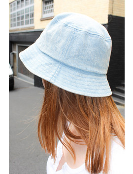 Light Wash Denim Bucket Hat by Brandy Melville