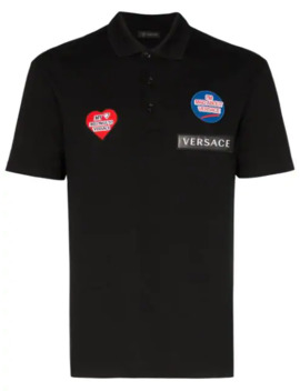 Poloshirt Mit Logo Patch by Versace