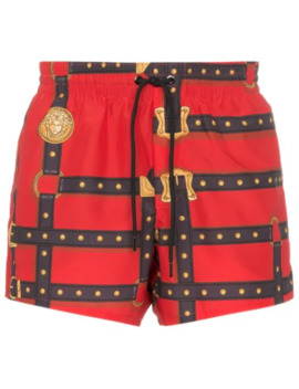 Harness Print Swim Shorts by Versace