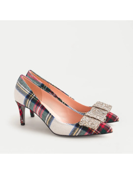 Colette Pumps In Snowy Stewart Tartan With Glitter Bow Detail by J.Crew