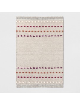 Tan Striped With Poms Woven Fringed Rug   Opalhouse™ by Shop Collections