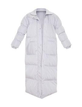 Light Grey Longline Puffer Coat by Prettylittlething