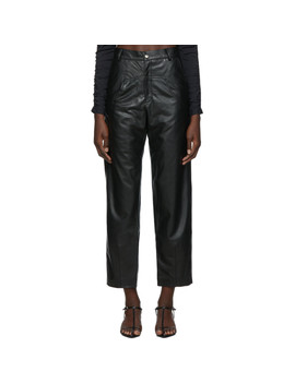 Ssense Exclusive Black Vegan Leather 'the Dropped Pocket' Trousers by Markoo
