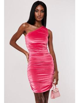 Neon Pink Velvet One Shoulder Ruched Mini Dress by Missguided