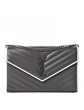 Saint Laurent Grain De Poudre Matelasse Chevron Monogram Chain Wallet Grey White by Yves Saint Laurent