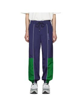 Navy & Green Ader Error Edition Line Track Pants by Maison KitsunÉ