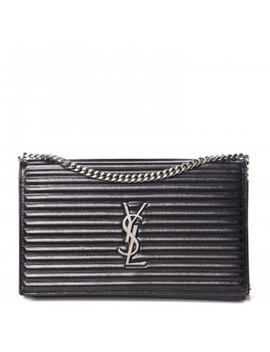 Saint Laurent Ribbed Calfskin Opium Monogram Chain Wallet Black by Yves Saint Laurent