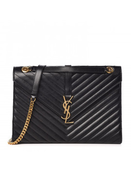 Saint Laurent Smooth Calfskin Matelasse Chevron Large Monogram Satchel Black by Yves Saint Laurent