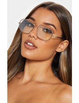 Gold Angled Oversized Aviator Reader Glasses by Prettylittlething