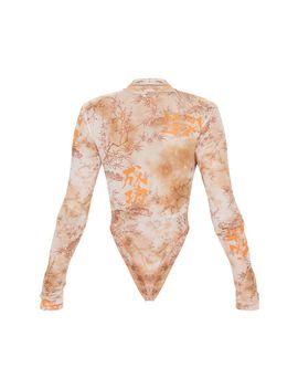 Nude Oriental Print Mesh High Neck Bodysuit by Prettylittlething
