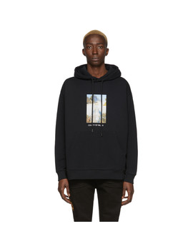 Black Over Holy Square Hoodie by Marcelo Burlon County Of Milan