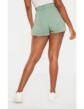 Sage Green Belted Tailored Short  by Prettylittlething