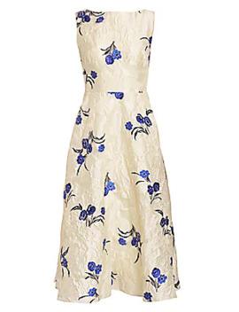 Floral Fil Coupé Boatneck Dress by Lela Rose