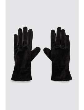 Contrast Velvet Gloves by Zara