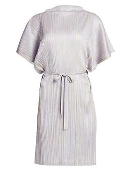 Shiny Stripes Short Sleeve Dress by Pleats Please Issey Miyake
