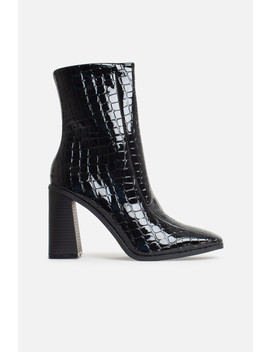 Tara Block Heeled Ankle Boots In Black Vegan Croc Leather by Luxe To Kill