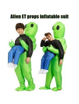 Green Alien Carrying Human Costume Inflatable Funny Blow Up Suit Cosplay For Party by Wish