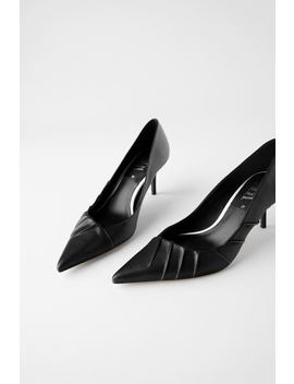 Leather Heeled Shoes With Pleating by Zara