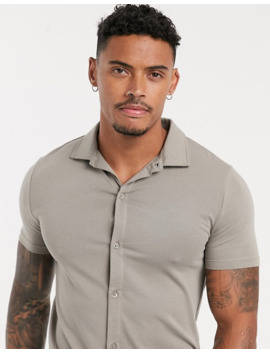 Asos Design Organic Muscle Fit Short Sleeve Jersey Shirt In Beige by Asos Design