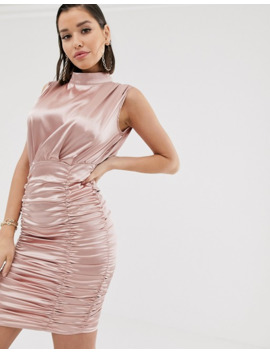 Katchme Satin Ruched Mini Dress In Pink Champagne by Asos