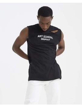 Shredded 'art School Dropout' Vest   Black And White by Art School