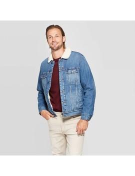 Men's Standard Fit Long Sleeve Sherpa Denim Jacket   Goodfellow & Co™ Denim Blue by Goodfellow & Co