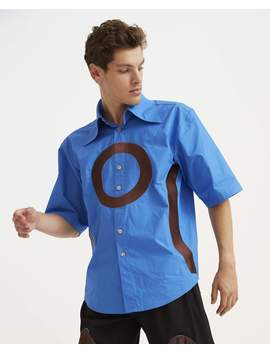 Embroidery Shirt   Blue And Brown by Goomheo