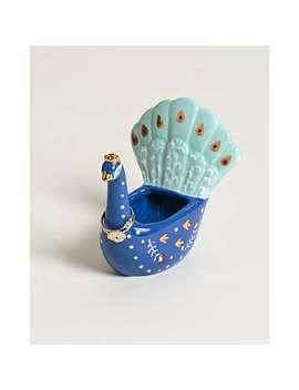 Peacock Blue Ceramic Ring Holder by Olivar Bonas