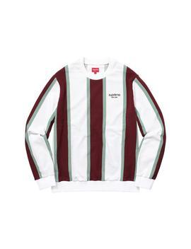 White L Men's Vertical Stripe Pique Crewneck Sweater Sweatshirt/Hoodie by Supreme