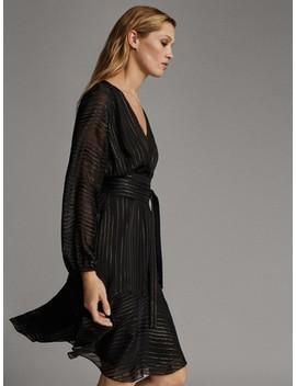 Vestido Negro Rayas Detalle Metalizado by Massimo Dutti