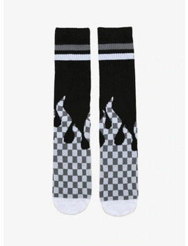 White & Grey Checkered Flame Crew Socks by Hot Topic