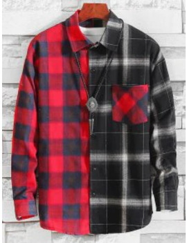 Popular Sale Plaid Pattern Color Spliced Casual Shirt   Multi A M by Zaful