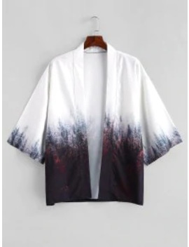 Hot Sale Forest Painting Print Open Front Kimono Cardigan   Coffee M by Zaful