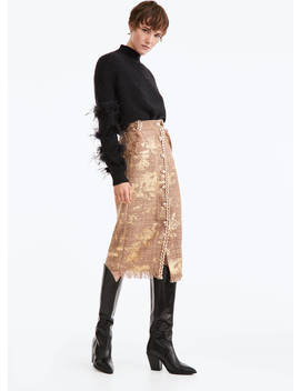 Gold Coloured Tweed Skirt by Uterqüe