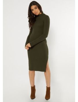 Olive Ribbed Knit Mock Neck Midi Dress by Rue21