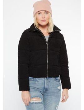 Black Corduroy Puffer Jacket by Rue21