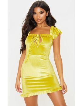 Chartreuse Velvet Frill Detail Bodycon Dress by Prettylittlething
