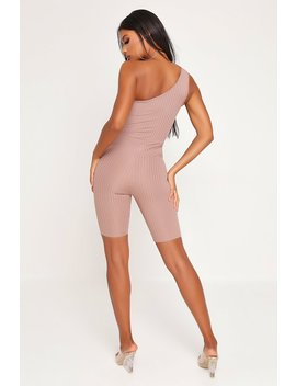 Taupe Ribbed One Shoulder Unitard by I Saw It First