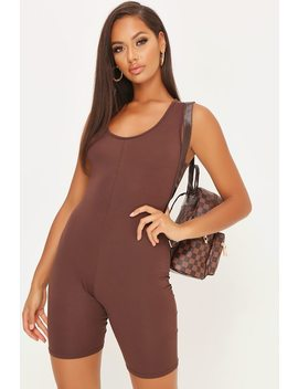 Chocolate Basic Cropped Unitard by I Saw It First