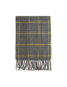 Grey And Yellow Check Tassel Scarf by Primark