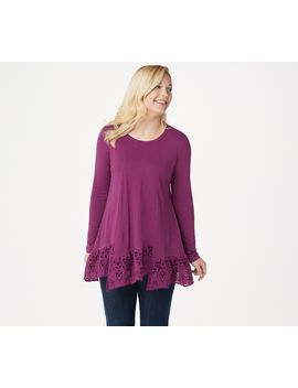 Logo By Lori Goldstein Cotton Modal Top With Step Eyelet Hem by Logo By Lori Goldstein®