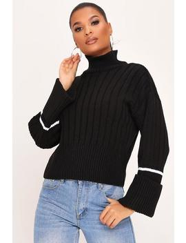 Black Turn Up Cuff Stripe Knitted Jumper by I Saw It First