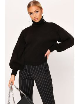Black Balloon Sleeve Roll Neck Knitted Jumper by I Saw It First