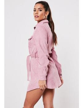 Petite Pink Cord Tie Waist Dress by Missguided