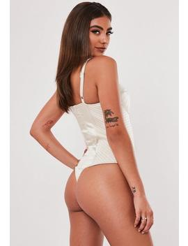 Jordan Lipscombe X Missguided Champagne Corset Bust Cup Satin Bodysuit by Missguided