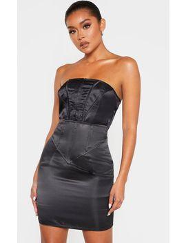 Black Satin Corset Waist Detail Mini Skirt  by Prettylittlething