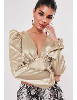 Tall Champagne Zip Front Puff Sleeve Blouse by Missguided