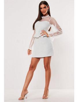 White Mesh Sleeve Tweed Mini Dress by Missguided