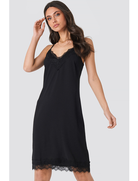 Lace Detail Slip Dress Black by Na Kd Party