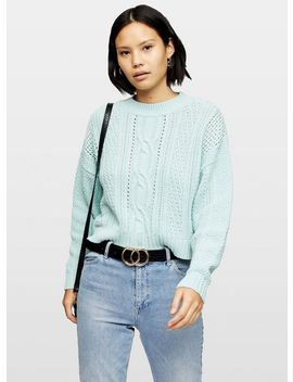 Green Easy Cable Jumper by Miss Selfridge
